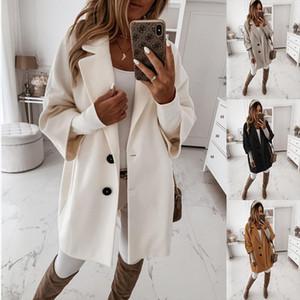 2020 Outono E Inverno sólido trimestre Cor Três Botão Manga lapela casaco de lã bolso Brasão Womens Long Vestuário Vintage Mulheres