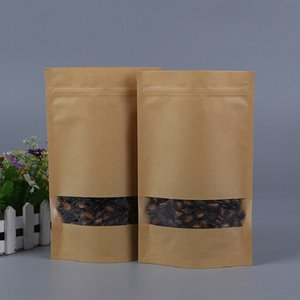 14*22cm Kraft PaperFood storage b Gift Candy Bags Self Sealing Bag With Clear Window Dried Food Fruit Biscuit Storage Packaging Pouches Bags
