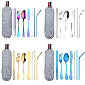 الفولاذ المقاوم للصدأ دعوى سكين شوكة ملعقة القش قابلة لإعادة الاستخدام تنظيف فرشاة عيدان الحلاقة حزمة الطعام مجموعات التخييم outdoors 18 8WL K2