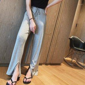 Womengaga 2020 Nouvelle fille Femme Solide Cordon Solide Imprimé High Taille Pantalon Casual Loose Splitwear A7501