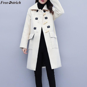 FREE OSTRICH New arrival high quality comfortable and relaxed Women Work Solid Winter Office Long Sleeve Button Woolen Coat