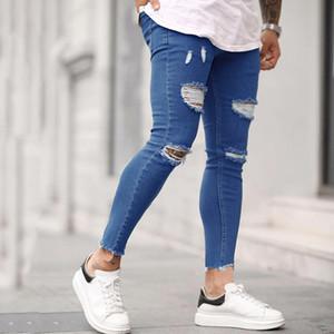 Мужские разорванные напечатанные патча брюки мужские тонкие джинсы персонализированные патч стремятся джинсы синий размер S-3XL