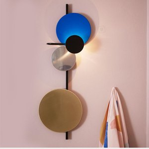 2020 Nordic Loft Multicolor Metal Round Circle Led Wall Lamp Art DIY Style Planet Led Wall Scones Hotel Bedside Decro Indoor Lighting