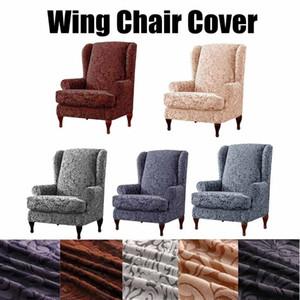 Estiramento do braço Rei Voltar Cadeira Coberta Elastic Poltrona Wingback tampas da asa Cadeira Coberta Sofá Início Funiture Protector Slipcover