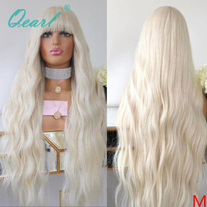 Transparent Lace White Blonde 13x6 Human Hair Lace Front Wig with Fringe Light Color Wig Bangs Natural Wave Remy Hair 150% Qearl