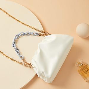 WILLIAMPOLO Женское 2020 Новых модные моды плеча белого плиссе портативной сумка мягкой сумка Mini Облачных Hobos сумка Q1106