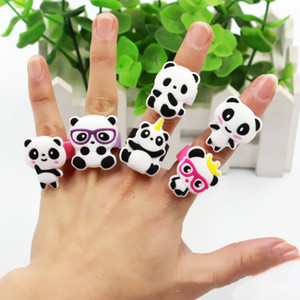 Cartoon Lovely Mini Panda Rings Cute Animal Pendant Silicone Rings for Kid Children Toy Ornament Souvenirs