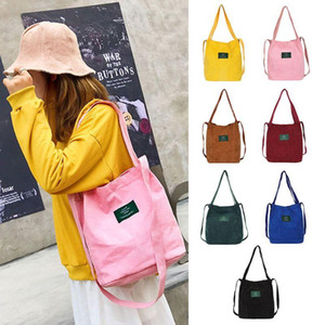 Women Corduroy Shoulder Shopping Bag Tote Package Crossbody Casual Handbag Top Handle Bags M5TE