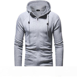 Mens Hoodies casual slim zipper cardigan new autumn winter solid color fashion long-sleeved hoodie with 4 Colors