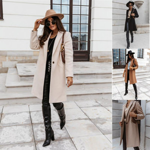 Automne hiver Mode Wolen Manteau Slim Simple Broto Coat Femme Trench Trench Long Femmes Windbreakers Plus Taille Overcoat Femmino