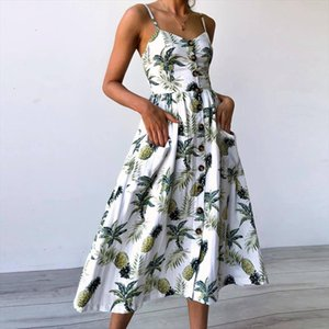 Sexy V Neck Backless Floral Summer Beach Sundress Dress Women 2020 White Boho Striped Button Sunflower Daisy Party Midi Dresses
