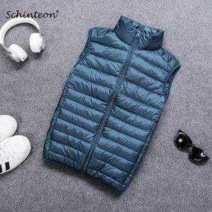 Schinteon 남성 조끼 Gielt 캐주얼 양복 조끼 봄 가을 라이트 다운 재킷 남성 오리 90 % 화이트