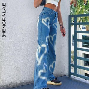 SHENGPALAE 2020 AUTOMNE HIVER NOUVEAU JEAN POUR FEMMES Taille haute taille Slim Love Graffiti Imprimer droit Casual Streetwear Cowboy Pantalons 5A65