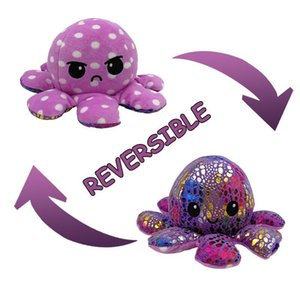 23 colors Stuffed Plush Animals cute flipped octopus doll double-sided expression flipped octopus doll plush toy gift for children