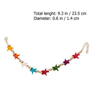 4pcs Seaside Anklets Colorful Sea Star Foot Chain Love Simulation Pearl Jewelry 4pcs Seaside Fast Shipping sqcIUN sports2010