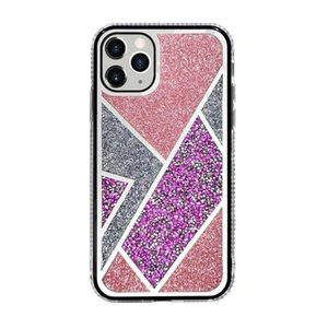 Stilvolles Strass-Glitzer-Pulver-Bling eletroplated Spiegel Hart Telefon Fall für iPhone 12 Mini 11 Pro XS Max XR x 7 8 Plus
