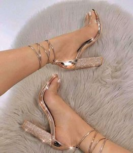 2020 European design fashion high heels diamond rough heel ladies casual sexy sandals straps transparent outdoor party wedding banquet cheap