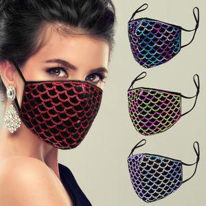 Tasarımcı yüz maskesi payetli elmas yüz maskeleri kadın erkek leopar toz geçirmez baskı ve pus maskeleri yıkanabilir ve ayarlanabilir filtre