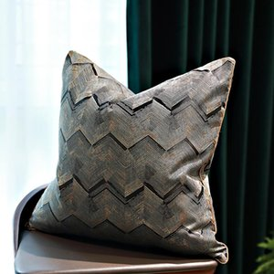 DUNXDECO Cushion Cover Decorative Pillow Case Modern Luxury Golden Black Wave Geometric Jacquard Coussin Sofa Chair Bedding
