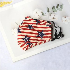 Independence Day Face Masks USA Flag Star Mask PM2.5 Printed Anti-dust Breathable Fold Mouth Cover Unisex Adult Cotton Washable OOE2587