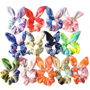 INS Newest 13 Colors Christmas Big Velvet Scruchies Tie Dyed Women Rabbit Scrunchies Tie Band Girls Headband Lady Hair Accessories