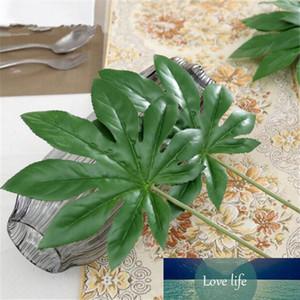1Piece large Artificial fake Monstera palm tree Leaves green Plastic leaf wedding DIY decoration cheap Flowers arrangement plant