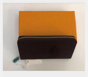 Novo único zíper carteira homens mulheres wallet de couro senhora comprida bolsa com caixa moeda cartas sacos sacos