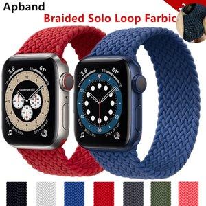 Örgülü Solo Döngü Apple Watch Band 44mm için 40mm 38mm 42mm Naylon Elastik Kemer Bilezik IWatch Serisi 3 4 5 SE 6 Kayış