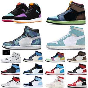 Classique Jumpman SnakeskinJordanRetro TRAVIS scott 1 1s chaussures de basket-ball Rouge Noir Obsidienne formateurs des hommes de sport chaussures de sport