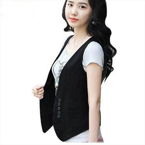 2020 Womens Wardrobe Waistcoat Wholesale Women Slim Cotton Vest Women Fake Pocket Button Free Shipping Drop Shipping