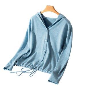 Hooded Cardigan Mulheres Primavera e Outono New cor sólida Cashmere Jacket Casual Único Breasted Ladies Tops fina com decote em V malha 201016