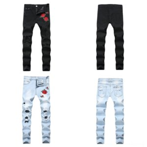 ET1UF Nuevo tamaño grande Denim Jeans destruido Mendigo Retro Hombres Antiguitos Trendy Jeans Jeans Brand Pantalones Slim Straight Plus Hole Brand Denim
