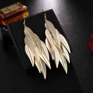 2020 Coco sparkling Leaf Drop Dangle eardrop earring Gold Color Austrian Dangling Earrings for women girls
