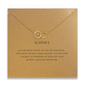 Giorno del doppio cerchio collana delle donne clavicola pendente di modo Catena Dichiarazione collane del Choker KARMA Carta Collares San Valentino