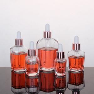 100ml의 EWF2384에 로즈 골드 캡 10ml의와 투명 유리 에센셜 오일 향수 병 평방 dropper 병