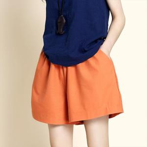 Cotton Linen Shorts Korean Womens Shorts Casual Elastic High Waist Short Pants Solid Loose Plus Size Wide legged Trousers S 3XL