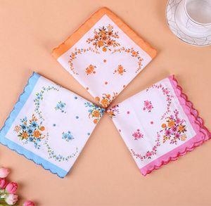 Cotton Handkerchief floreale ricamato donne Fazzoletti Fiore Lady Hankies Mini SquareScarf Boutique tasca tovagliolo libero AHF1180