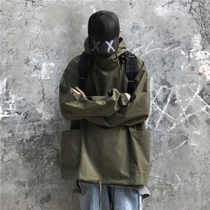 Outono Fina Seção Pullover Jacket Men Moda cor sólida Casual Jacket Homem encapuçado Streetwear solto Hip Hop Bomber Homens Jakets For Me đối #
