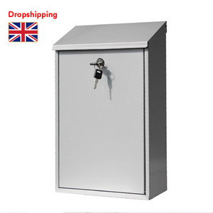 Stock in UK Lockable Post Box Outdoor Galvanized Wall Mounted Mailbox Letter Box with Key Silver Dropshipping