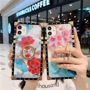 Square Flower Glitter Diamond Ring soft case for iphone 12 11 Pro Max 7 8 plus X XR XS SE cover for samsung S20 Note20 Ultra S9 S10