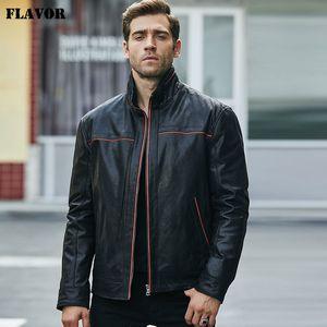 Flavor новый мужской натуральная кожа куртка Pigskin куртки вскользь кожаные пальто стоячим воротником X1025