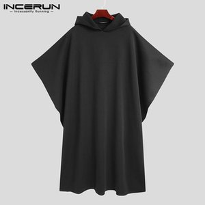 Stylish Men Cloak Coats Hooded Cape Solid Loose 2020 Streetwear Punk Style Windproof Men Long Trench Chic Winter Poncho INCERUN