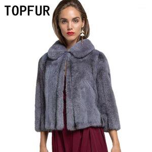 TopFur Frühling Real Pelzmantel Kurzer Naturmantel Frauen Winter Luxuriöser Kleid Schal Echtes Lederjacke 20201