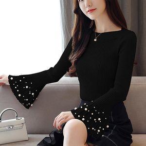 Ruffle Women Sweater Deading Flare Long Sleeve Women Tops Pullover Sweater 2020 New Autumn bottom Slim Knitted 663E