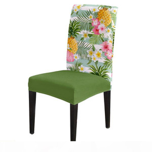 Pineapple And Tropical Flower Chair Cover for Dining Room Chairs Covers High Back Living Room Chair Cover Sets for Home Kitchen