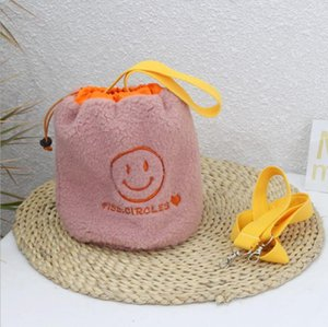 Plush smile face embroidery children's Bucket Bag + scarf, autumn and winter, all kinds of baby handbags, one shoulder bag