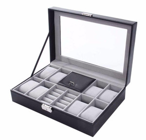 New 30*20*8cm 2 In One 8 Grids+3 Mixed Grids Leather Watch Case Storage Organizer Box Luxury Jewelry Ri sqcERc dh_seller2010