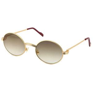 Wholesale más grande 1186111 Gafas de sol de metal Exquisito Tamaño de los hombres y mujeres Tamaño: 55-22-140mm Silver Gold Metal Metal Gafas Ronda Caliente