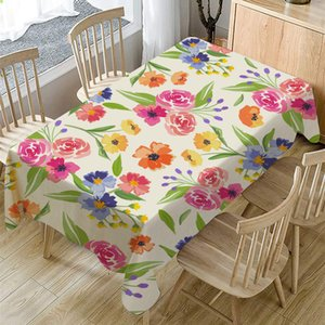 Free shipping 90-240cm Colored Flower Cotton Linen Tablecloth For Fashion Living Room Houseware Table Cloth Cover Multicolor