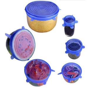 Silicone Stretch Suction Pot Lids Food Grade Fresh Mantenimiento Wrap Sello Pan Tapa Pan Cubierta Cocina agradable Accesorios 4 Colores 6pcs / Set FWC3985